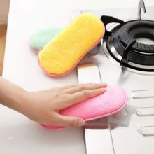 3/Pcs Lot Microfiber Dish Cleaning Sponge Multi-Use