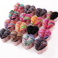 50PCS/Box New Girls Colorful Basic Elastic Hair Bands