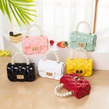 Small bag female 2020 new PVC mini lipstick bag pearl portable jelly bag chain shoulder messenger female ba