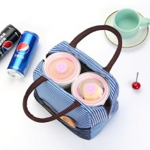 Portable Insulated Thermal Cooler Lunch Bag Striped