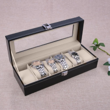 6 Slots Watch Storage Box with glass Cover