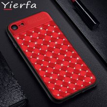 Luxury Grid Weaving Pattern Glitter Diamond Back Cover For Iphone