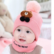 Bear Cat Design Baby Winter Hat With Scarf