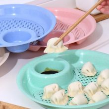 Double Layer Round Kitchen Drain Dumpling Plate