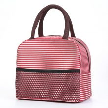 Portable Insulated Thermal Cooler Lunch Bag Striped – Red