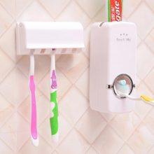 Toothbrush Toothpaste Automatic Dispenser Organizer-White